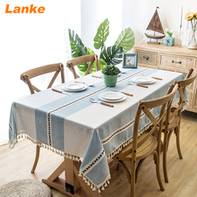 Lanke Linen table cloth rectangular Waterproof Oilproof With Tassel , Dining Tablecloth for Home Christmas Birthday Paning Party