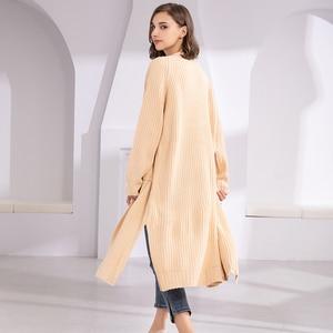 Image 5 - Colorfaith新 2020 秋冬の女性のセーター韓国スタイルミニマリスト固体多色カジュアルロングカーディガンSW8528