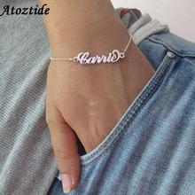 Atoztide-pulsera de acero inoxidable personalizada con nombre para mujer, brazalete de regalo, hecho a mano, grabado, amor