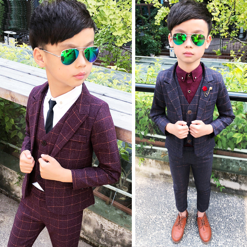 Children Boys Formal Suits Set 3 pcs Jacket Pants Vest For Wedding Kids Tuxedos