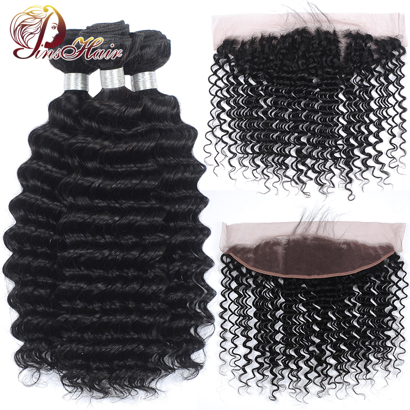 Pinshair Peruvian Deep Wave Bundles With Frontal Ear To Ear Lace Frontal With Bundles Human Hair Bundles With 13*4 Lace Closure