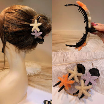 Newest Elegant Hairpins Crystal Starfish Crabs For Hair Big Claw Clips Ponytail Holders Bun Accessories Women