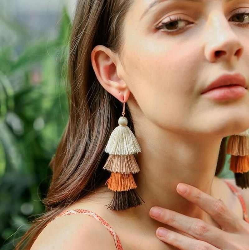 แฟชั่นโบฮีเมียน handmade ยาว multi-layer tassel ต่างหูต่างหูขายส่งต่างหูหญิงเครื่องประดับจี้ต่างหู