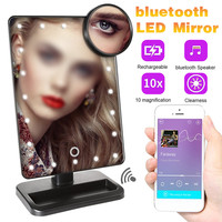 20 Light LED Touch Screen Makeup Mirror Table Desktop Makeup 10X Magnifying Mirrors Vanity bluetooth 360 DEGREE Rotate Mirror