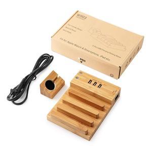 Image 5 - USB شحن محطة الخيزران الخشب شاحن الجهاز اللوحي متعدد قفص الاتهام المغناطيس ساعة حامل 3 منافذ 5 فولت/3A للهاتف