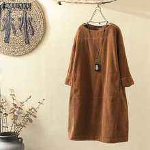 Women Vintage Corduroy Dress ZANZEA Autumn Long Sleeve Solid Midi Dress Casual Long Shirt Vestido Retro Party Sundress Robe Top7(China)