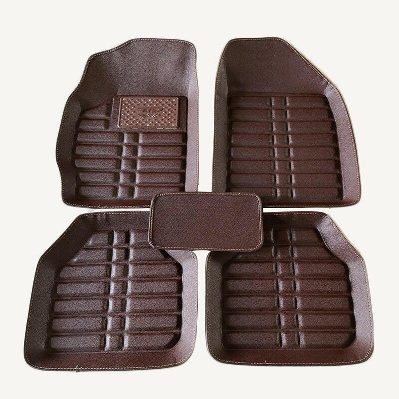 Leather Car Floor Mat Universal For Kia Rio Niro K3 K5 Soul Ceed Cerato Forte Optima Stinger Sid Sorento Camival Black Foot Mat