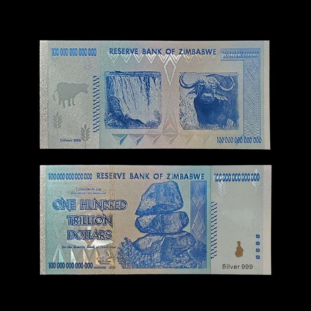 Rh zimbábue notas cem trilhões de dólares nota de ouro azul com certificados em 24k banhado a ouro para coleção