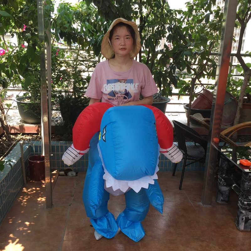 Halloween Aufblasbare Dinosaurier Kostüm Karneval T-REX Reiten Outfit Erwachsene Drache Dino Reiter Phantasie Kleid