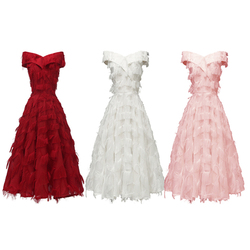 Spring and summer hot style one-shoulder sexy feather tassel dress temperament ladies ladies