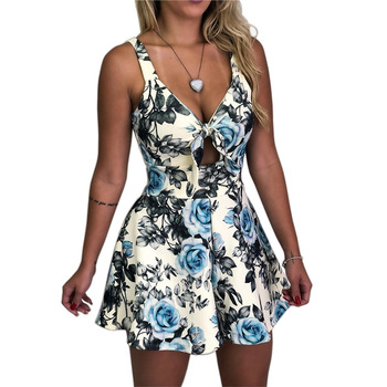 VITIANA Women Beach Rompers Female 2019 Summer Lace Up Print Floral Casual Short Jumpsuit Sleeveless Bodycon Sexy Party Playsuit 3