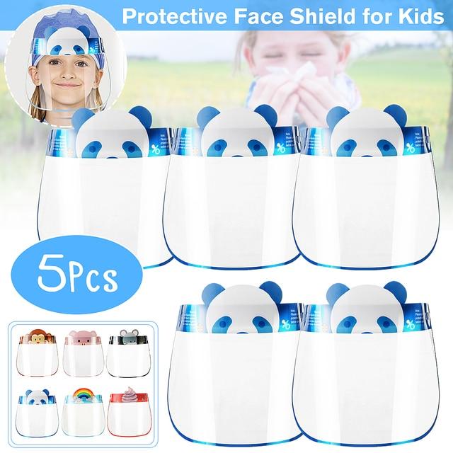 5PCS Kids Full Face Shield Mask Transparent Protective Visor Face Mask Plastic Anti Splash Anti saliva Dustproof Full Face Cover