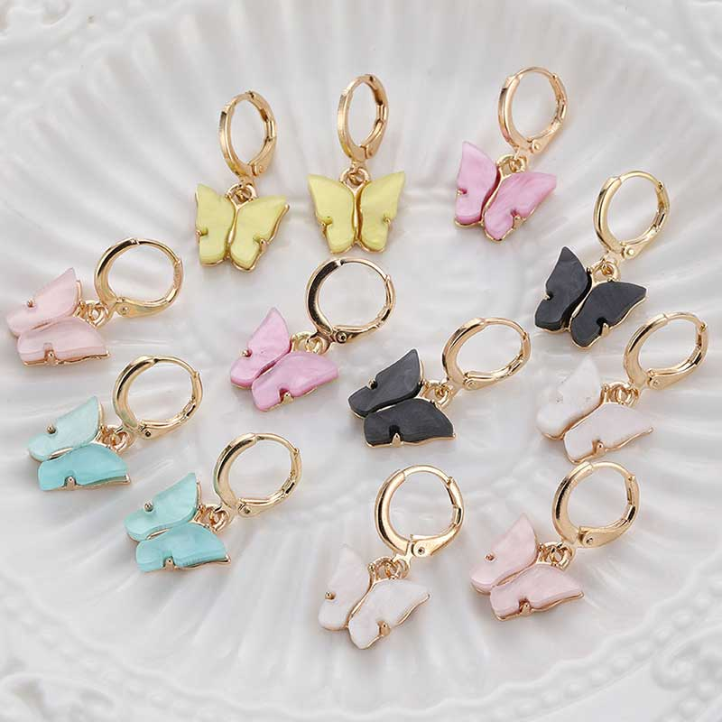 IFMIA New Women's Earrings Fashion Color Acrylic Butterfly Stud Earrings Animal Sweet Colorful Stud Earrings Girls Jewelry Gifts