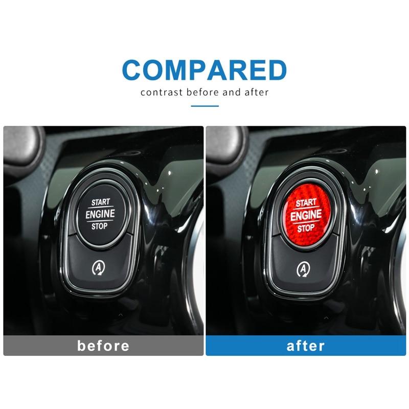 Karbon Fiber motor çalıştırma düğmesi etiket Benz W177 Glb X247 W247 Gle W167 Gls X167 W464 Cla C118 Amg