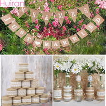 DIY Flower Jute Burlap Ribbon Rustic Wedding Decor Vintage Weeding Decoration for Weddings Mr Mrs Wedding Love Event Party(China)