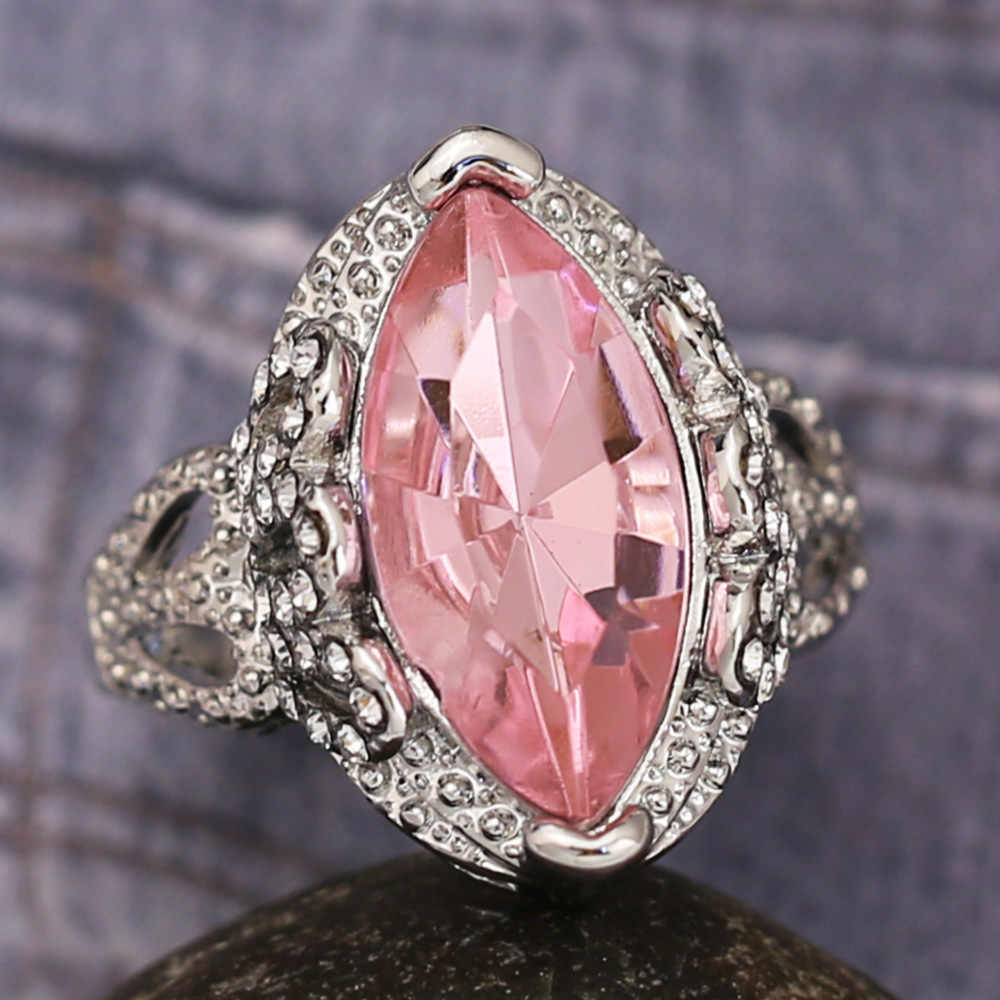 Anillo de compromiso elegante de la señora del calado del anillo del diamante blanco del álek rosa del temperamento al por mayor de la joyería de la manera