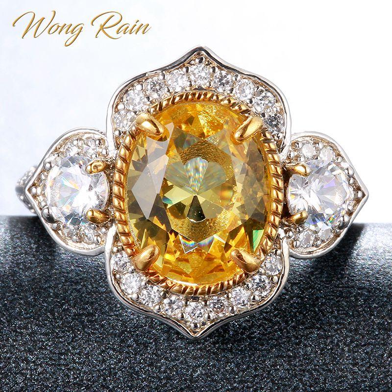 Wong Rain Vintage 925 Sterling Silver Citrine Gemstone Wedding Engagement White Gold Ring Wedding Bands Fine Jewelry Wholesale