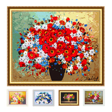 DIY Ribbon Embroidery kit, Easy Handwork Needlework for Beginner, Cross Stitch kit Flowers Wall Painting Home Accessories