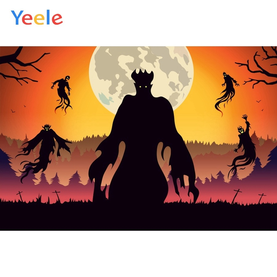 Yeele Halloween Pattern Backdrop Pumpkins Ghost Cauldron Castle and Spider Bats Photography Background 10x8ft Halloween Party Events Kids Acting Show Artistic Portrait Photoshoot Studio Wallpaper