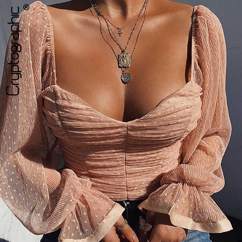 Cryptographic Square Collar Ruched Sexy Blouse Shirts Female See Through Mesh Polka Dot Fashion Long Sleeve Crop Tops Shirt