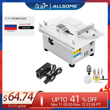 ALLSOME T4 Mini Table Saw Handmade Woodworking Bench Lathe Electric Polisher Grinder DIY Circular Cutting Saw Blade