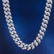 12mm Iced Out Cuban Chain Choker Necklace White Gold Fashion Hip Hop Cuban Link CZ 18/20/24 Inch Rapper Necklace Jewelry