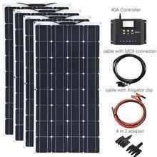 XINPUGUANG 400 Вт Гибкая солнечная панель 4x100 система комплекты солнечный модуль монокристаллический элемент 40А Контроллер солнечного зарядного устройства для автомобиля RV
