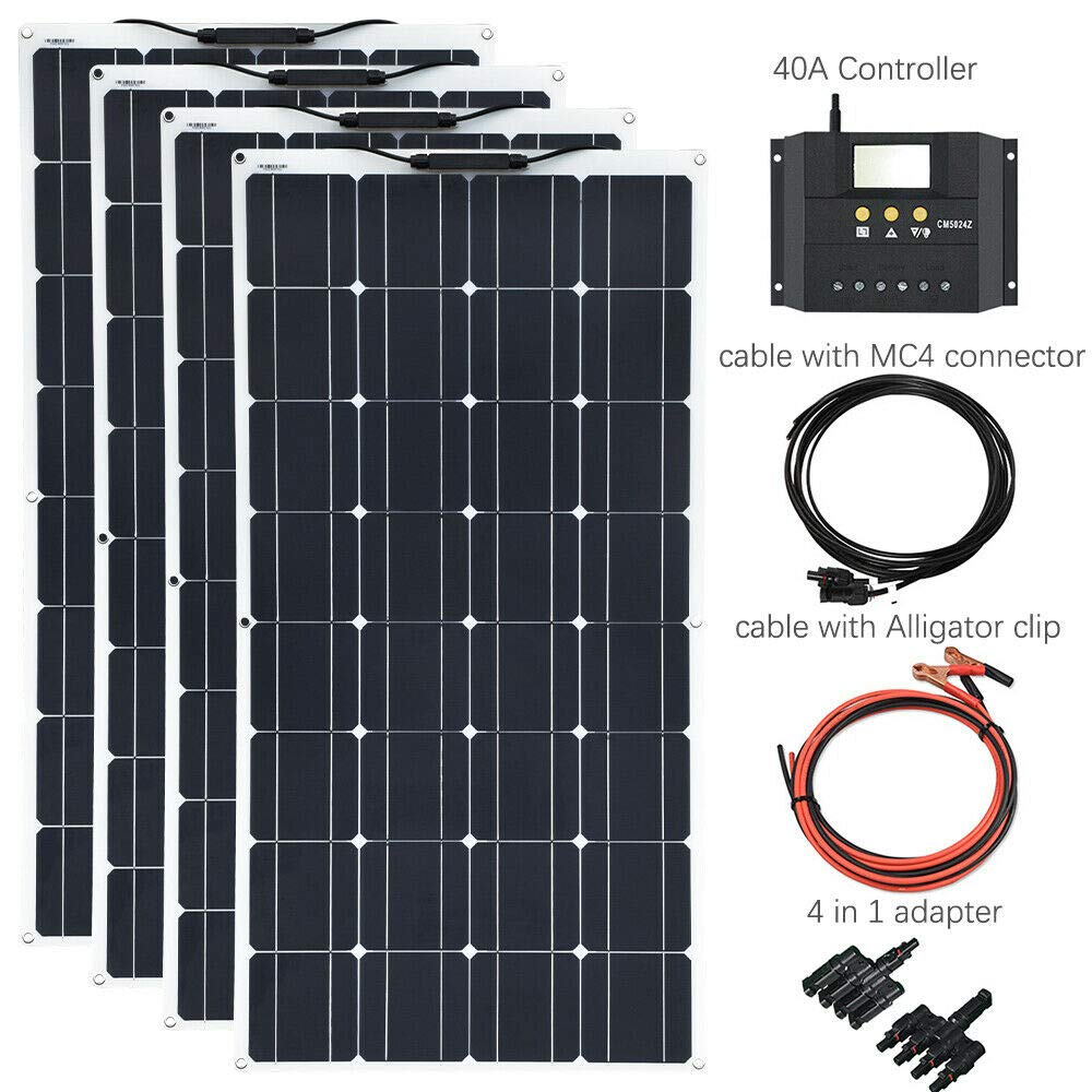 Xinpuguang 400 w flexível painel solar 4x100 kits de sistema solar módulo monocristalino célula 40a solar carregador controlador para carro rv