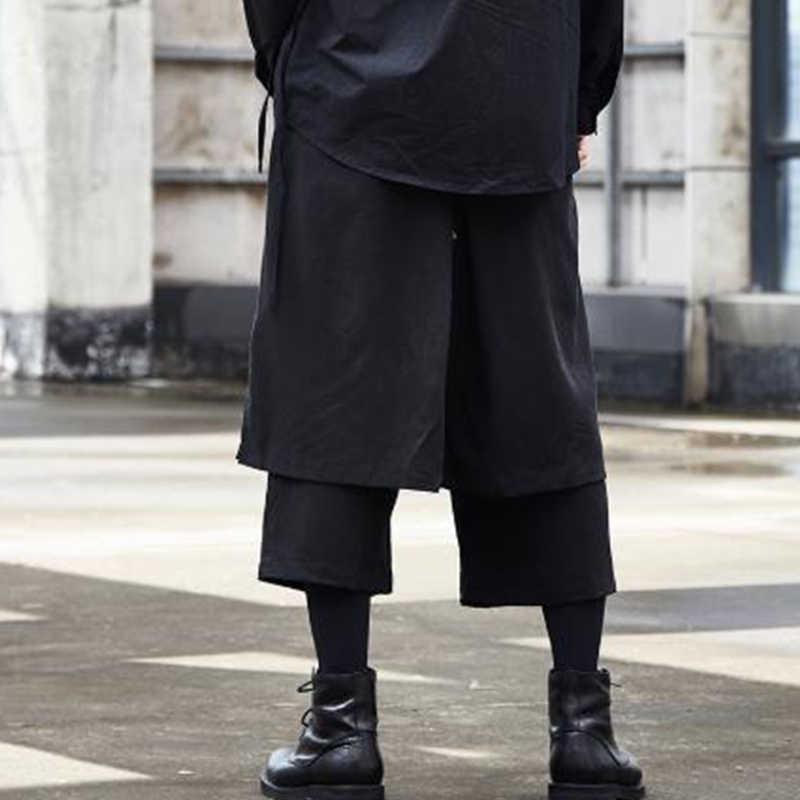 Men/'s Harem Loose Wide Leg Shorts Skirt Pants Gothic Japanese Culotte Trousers