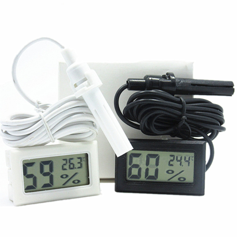 Digital LCD Thermometer Hygrometer Humidity Temperature Meter Indoor+Cable ON