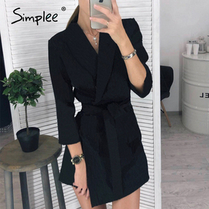 Image 4 - Simplee Elegant v neck office dress Plus size solid sash high waist long sleeve blazer dress Casual spring chic bodycon dress