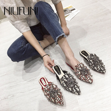 Pointed Rhinestone Rivet Women's Shallow Slippers Casual Slip On Low Heel Mules Loafer Flat Slides Sandals Shoes Crystal Female