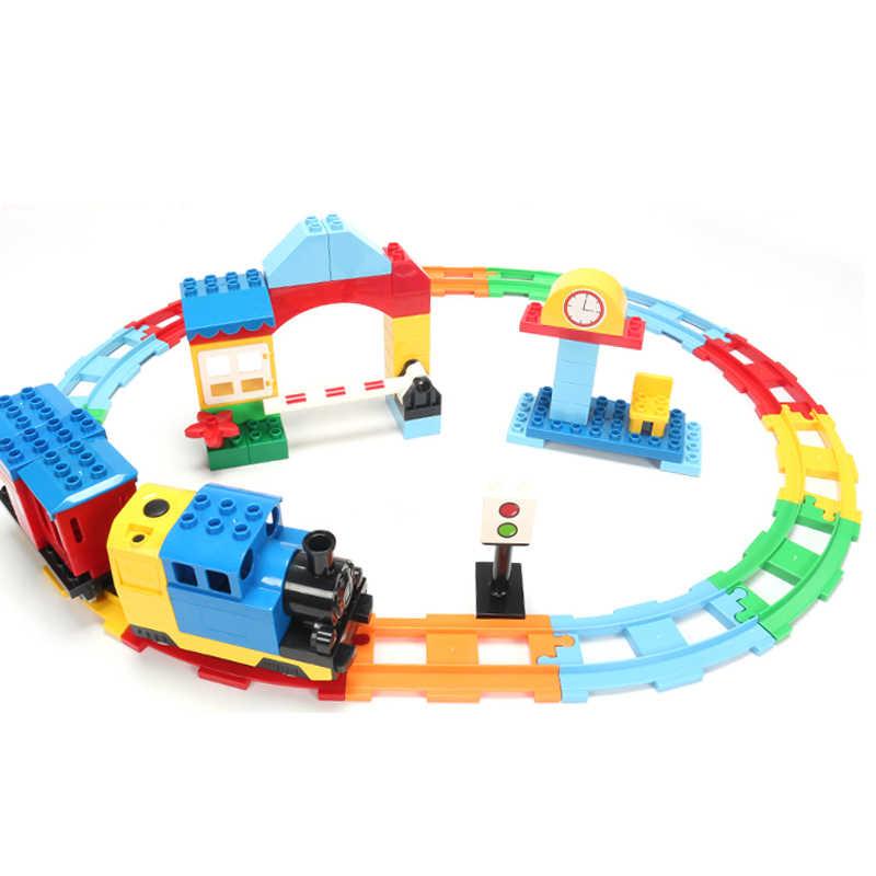 גדול גודל אבני בניין תואם Duploes רכבת סטים רכבת מסלול להרכיב אינטראקטיבי חינוכי לילדי