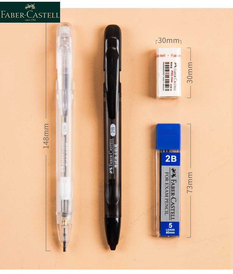 1 Set Faber-Castell 2B Exam Machine-readable Card Automatic Pencil 1327 Refill and Eraser Suit Exam Stationery Student Supply