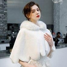 Bridal-Cape Shawl Wrap Short-Cloak Faux-Fur Wedding Winter Women Warm Petal Wave-Edge
