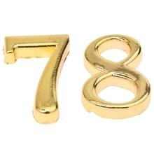 2 Pcs Home Practical Gold House Hotel Door Address Plaque Number with Srew Plate Sign House, Digital 8& Digital 7