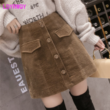 2019 Korean version autumn and winter new corduroy skirt women Knee-Length  Dropped Solid Casual
