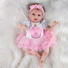 Colored  Baby Doll Toy Girl 22 Inches Reborn Vinyl Girls Dolls Children High Heel Suit Soft Silicone 55 cm boneca newborn