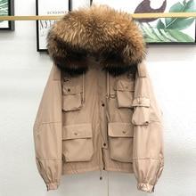 Hooded-Jacket Pakers Coat Short Raccoon-Fur Loose-Down Winter 90%White-Duck-Down Women