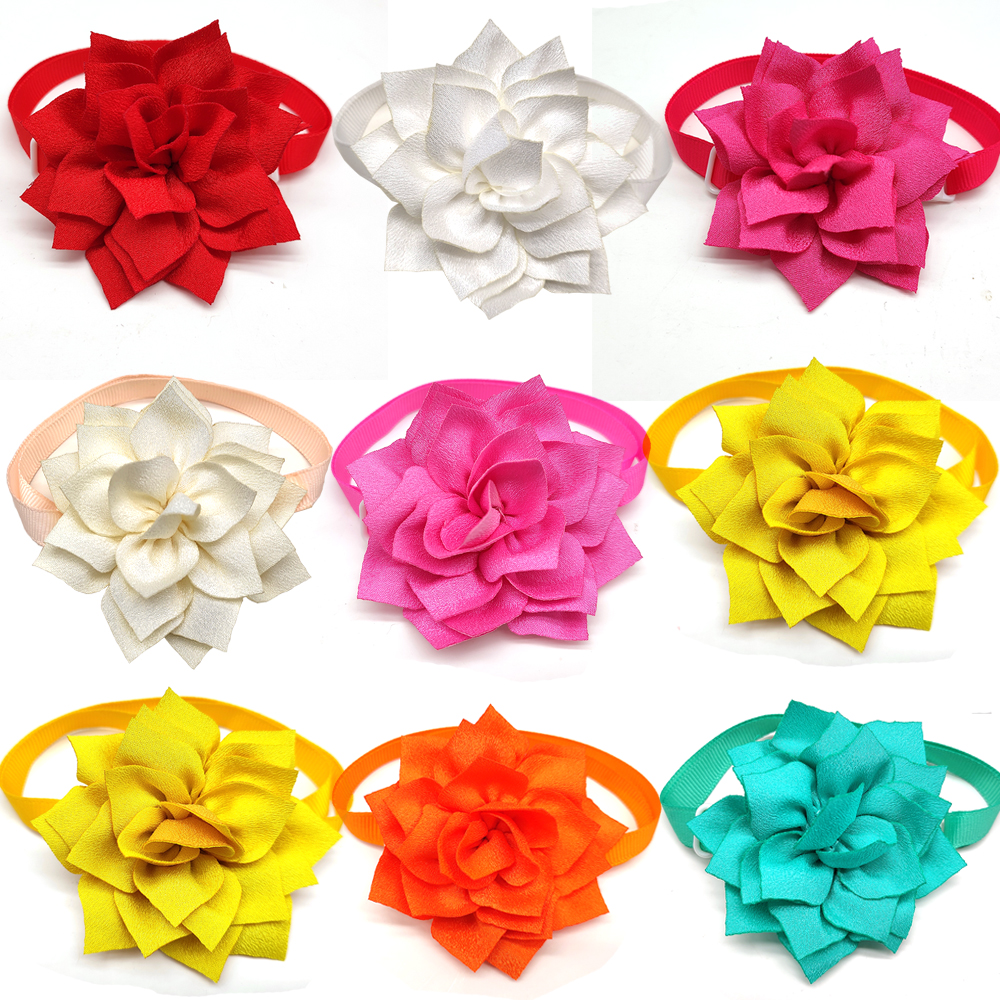 30 Pcs Colorful Flower Design Pet Dog Cat Bow Tie Necktie Adjustable Pet Dog Bow Tie Pet Grooming Dog Accessories