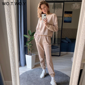 WOTWOY Casual Stacked Two Piece Set Women Tops And Pants Outfits 2020 Autumn Women Solid Tracksuit Sweatpants Set Women Pullover