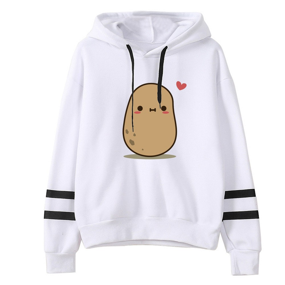 Girl's Hoodies Cute Potato Printed Fashion Women Casual Loose Long Sleeve Striped Print Sweatshirt Tops Blouse