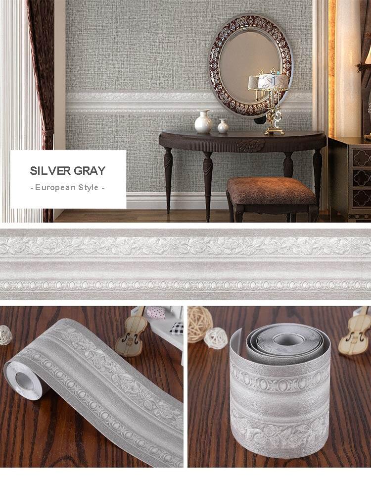 3D Embossed Baseboard Wall Sticker Modern Self-adhesive TV Background Wall Living Room Waistline PVC Waterproof Wallpaper Border