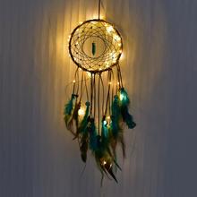 Łapacz snów Led ręcznie pióra do łapacza snów noc światło łapacz snów s ściany wiszące dekoracji pokoju dziecka dekoracje ścienne tanie tanio Maskotka Uciekają Antique sztuczna
