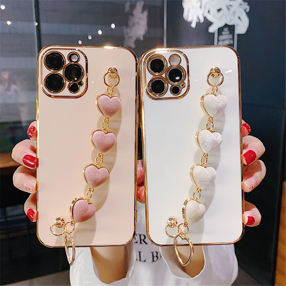 Soft Plating Phone Case For iPhone 12 11 Pro Max 12 Mini XS Max XR X 7 8 Plus SE2020 Cover Love Heart Plush Bracelet Coque Shell