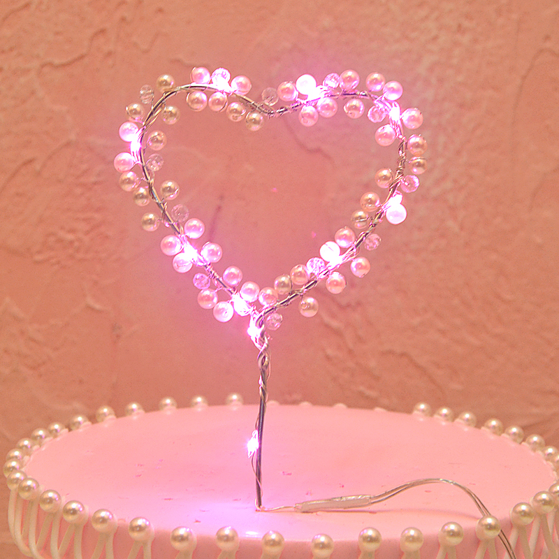 Fashion LED Pearl Heart Star Cake Topper Happy Birthday Cake Baking Party Decors