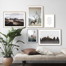 Forest Bird Landscape Canvas Painting Wild Grass Reeds Art Print Mountain Deer Nordic Poster Wall Pictures For Living Room Decor