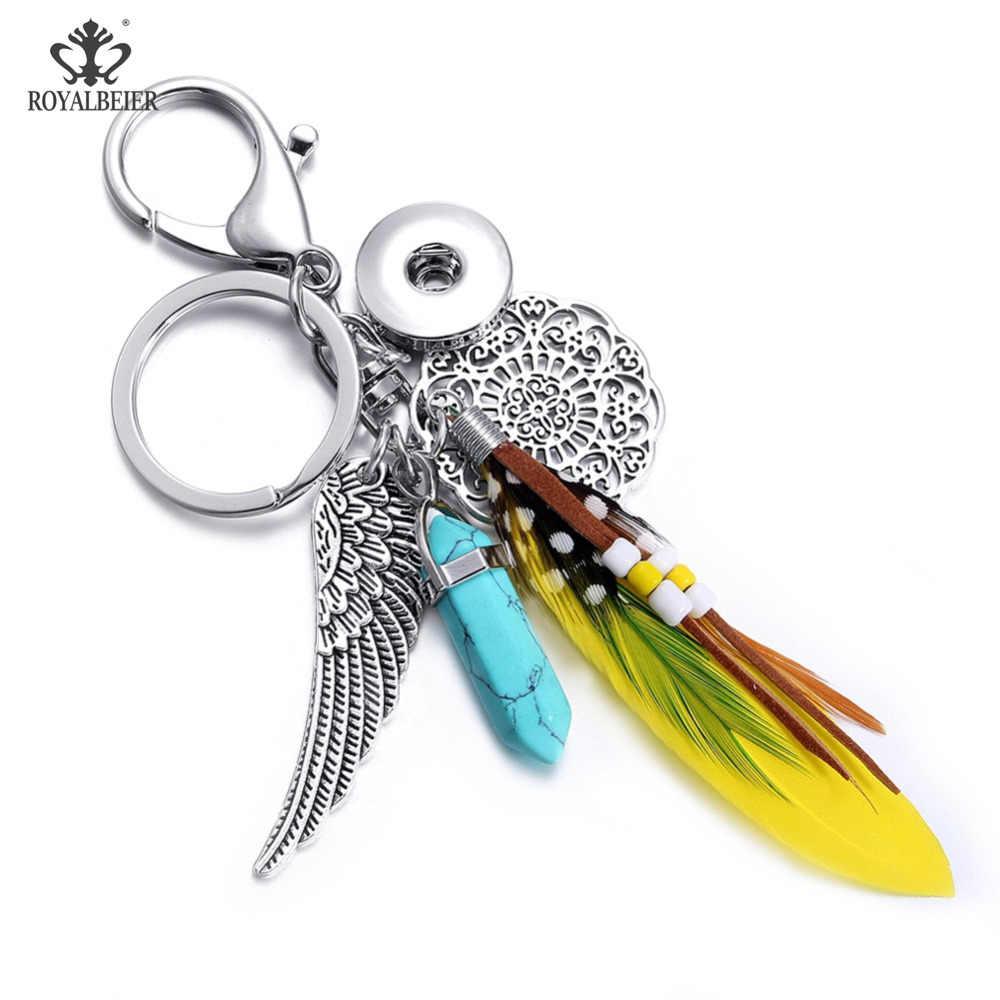 Royalbeier Gemischt 5 teile/los Keychain Kristall Metall Snap Keychain Perlen Fit 18mm Snap Tasten Unisex Snap Schlüssel Halter Großhandel