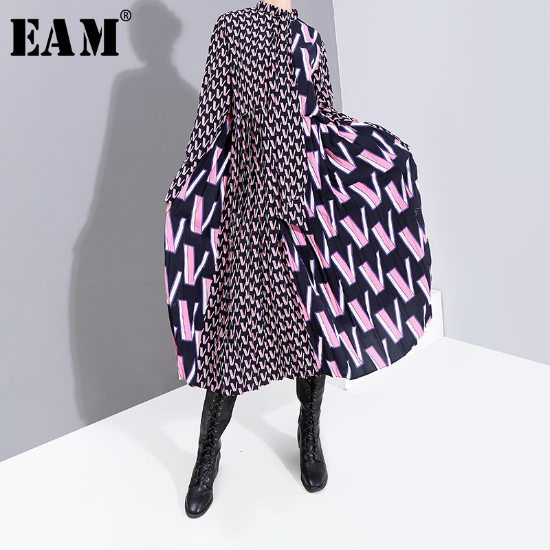 [EAM] Women Pattern Print Split Temperament  Dress New Bow Collar Long Sleeve Loose Fit Fashion Tide Spring Autumn 2020 19A-a872