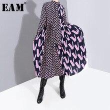 [EAM] 여성 패턴 인쇄 분할 기질 복장 뉴 보우 칼라 긴 소매 느슨한 맞는 패션 조수 봄 가을 2020 19A a872